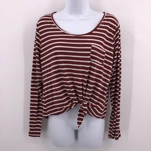 Maroon Red Striped Cropped Long Sleeve Top